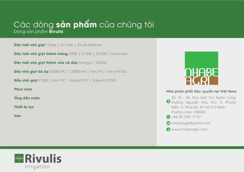 các sản phẩm Nhà bè Agri phân phối của rivulis