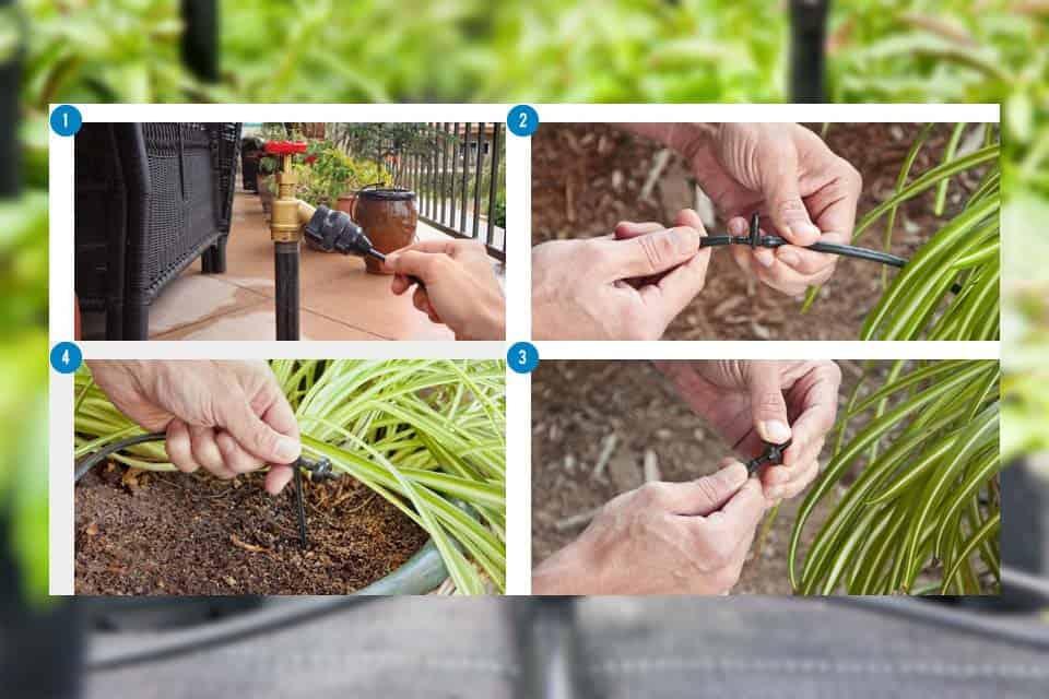 Sử dụng đầu tưới nhỏ giọt tưới hoa treo ban công, lan can sân thượng